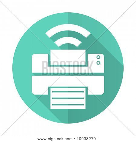 printer blue web flat design circle icon on white background