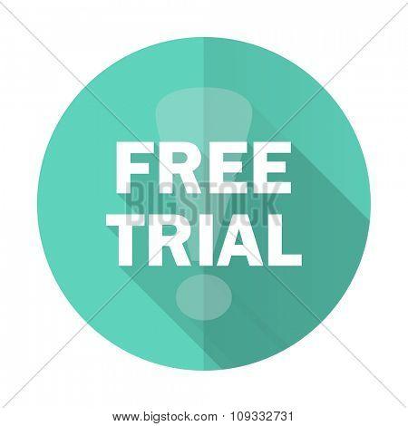 free trial blue web flat design circle icon on white background