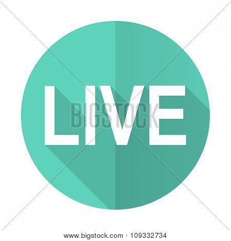 live blue web flat design circle icon on white background