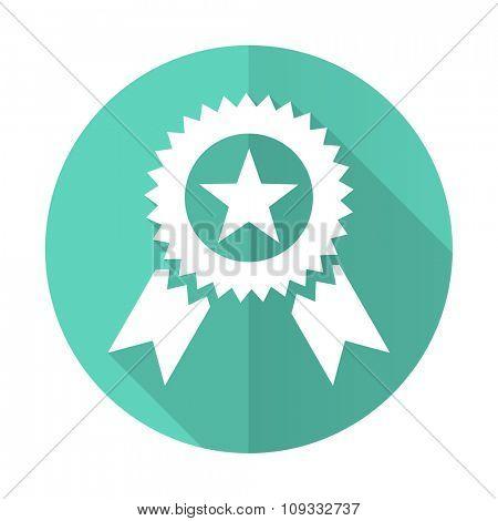 award blue web flat design circle icon on white background