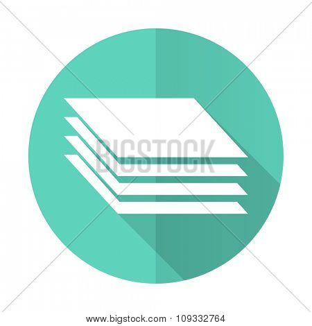 layers blue web flat design circle icon on white background