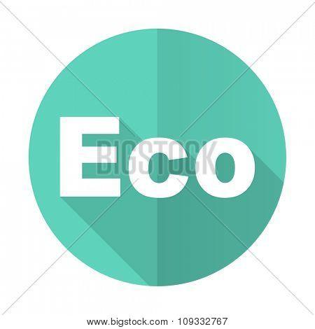 eco blue web flat design circle icon on white background