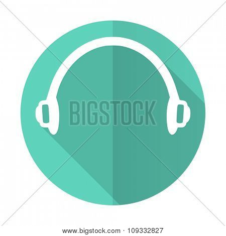 headphones blue web flat design circle icon on white background