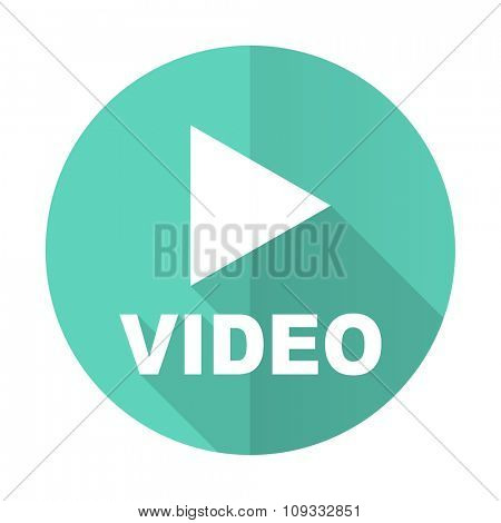 video blue web flat design circle icon on white background