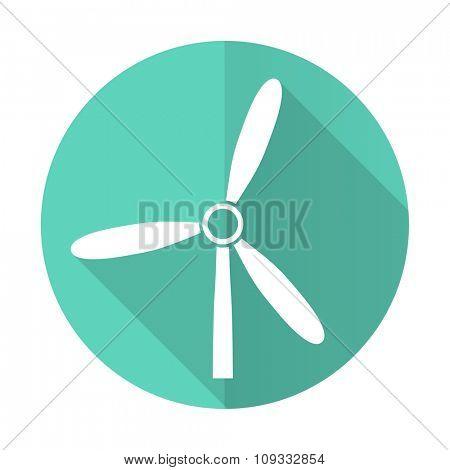 windmill blue web flat design circle icon on white background