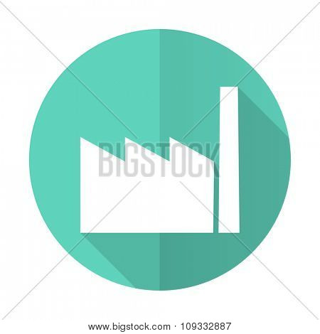 factory blue web flat design circle icon on white background