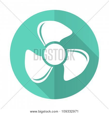 fan blue web flat design circle icon on white background