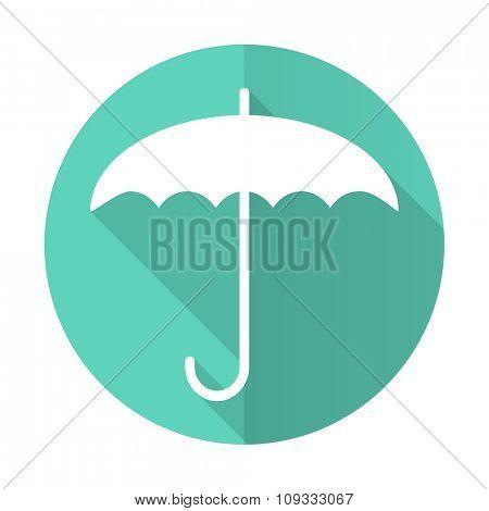 umbrella blue web flat design circle icon on white background