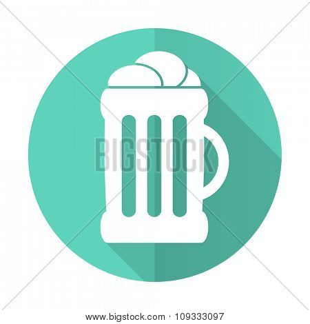 beer blue web flat design circle icon on white background