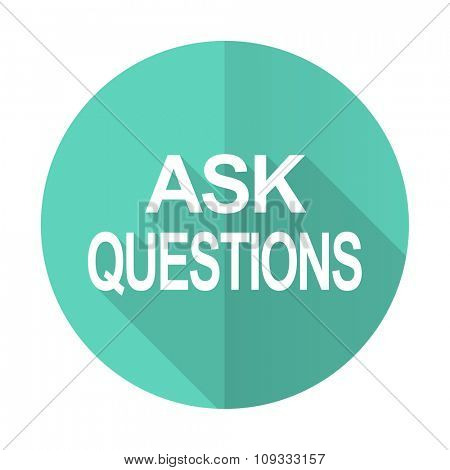 ask questions blue web flat design circle icon on white background