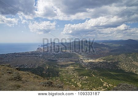 Panorama Of A Small Resort Town In Crimea From The Top Of The Mountain