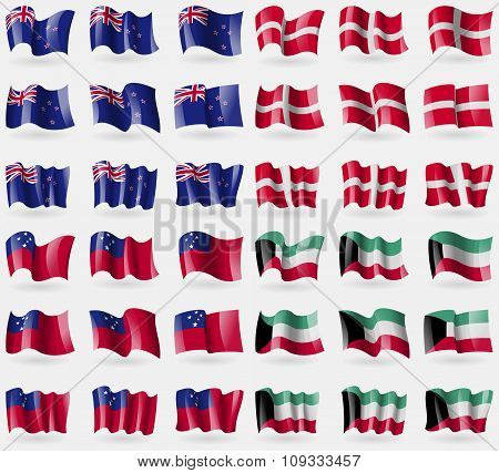 New Zeland, Military Order Malta, Samoa, Kuwait. Set Of 36 Flags Of The Countries Of The World.