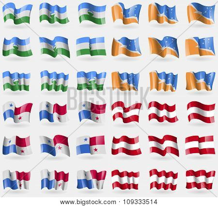 Kabardinobalkaria, Tierra Del Fuego Province, Panama, Austria. Set Of 36 Flags Of The Countries Of