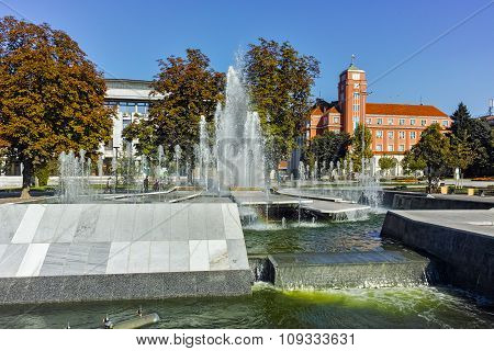Town Hall and Fountain in the center of City of Pleven