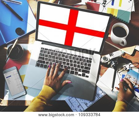 England Flag Country Nationality Liberty Concept