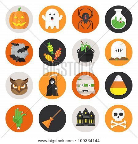 Halloween Vector Flat Icon Set