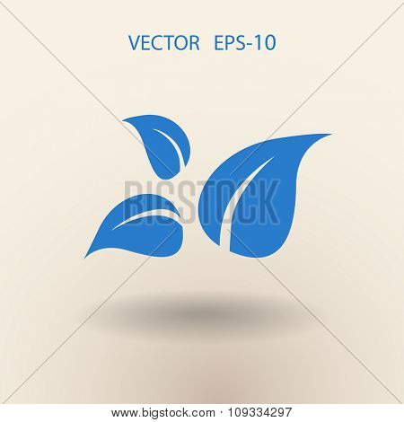 Flat eco leaf icon