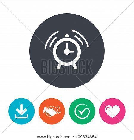 Alarm clock sign icon. Wake up alarm symbol.