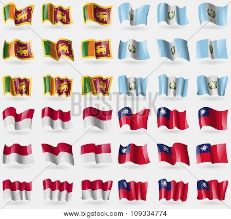 Sri Lanka, Guatemala, Indonesia, Taiwan. Set Of 36 Flags Of The Countries Of The World.