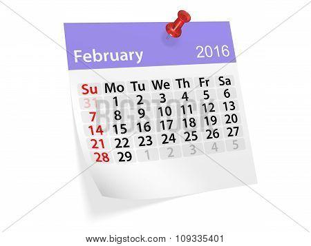 Monthly Calendar For February 2016. 3D Illustration