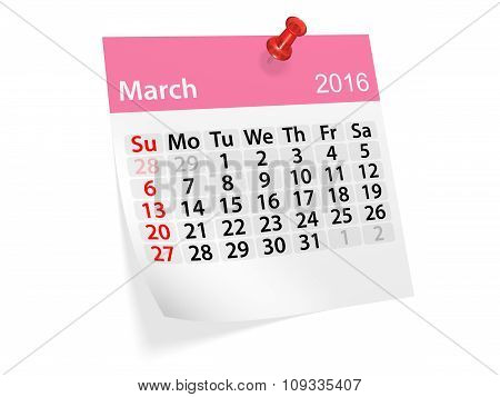 Monthly Calendar For March 2016. 3D Illustration