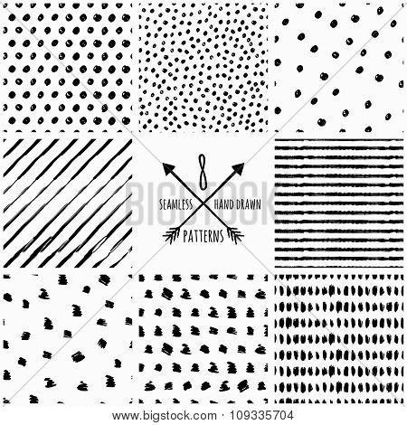 Set Of Vector Abstract Hand Drawn Seamless Patterns.