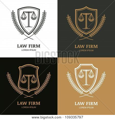 Set Of Vector Linear Vintage Law Firm Logo Template.