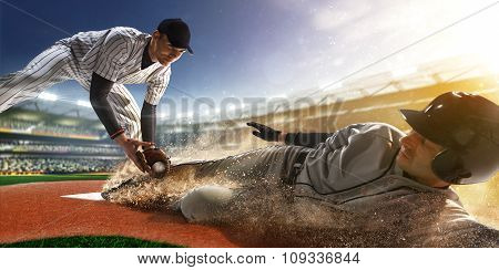 two baseball player in action