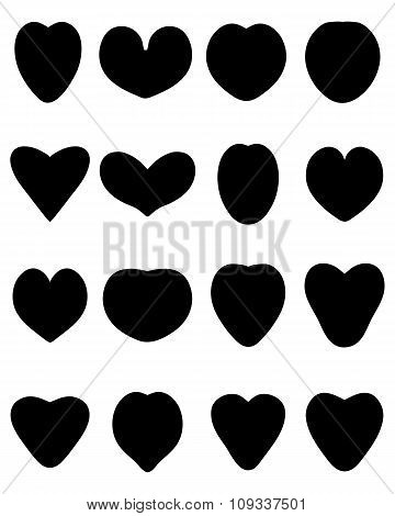 Black silhouettes of heart