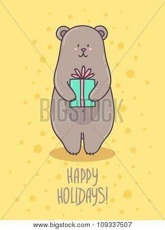 Card, Poster cute bear