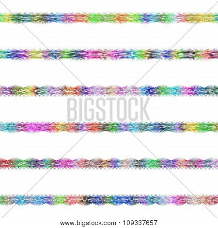 Color fractal page divider line design set
