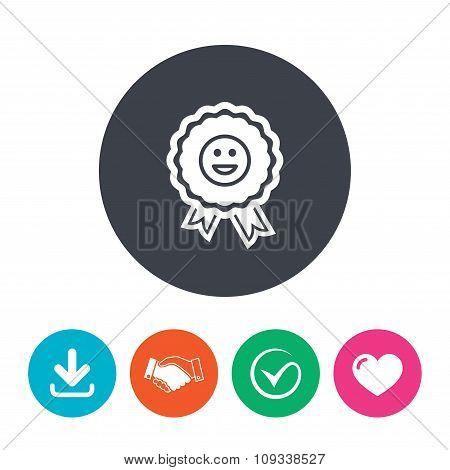 Award smile icon. Happy face symbol.
