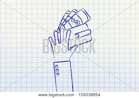 Hands With Wallet And Banknotes, Flat Illustration