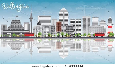 Wellington skyline with grey buildings, blue sky and reflections. Vector illustration. Business travel and tourism concept with place for text. Image for presentation, banner, placard and web site.