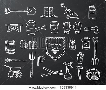 Collection of garden doodle sketch elements on black chalkboard background. Vector illustration.
