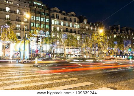 The Christmas Decoration On Champs Elysees Avenue, Paris, France.
