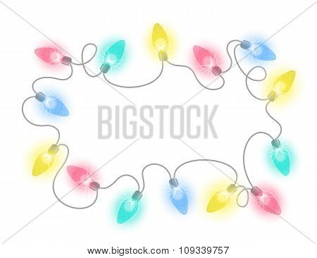Christmas Lights Bulbs Garland Vector Frame
