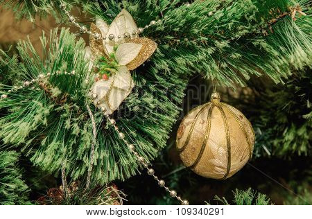 Christmas Decorations On The Branches Fir , Retro