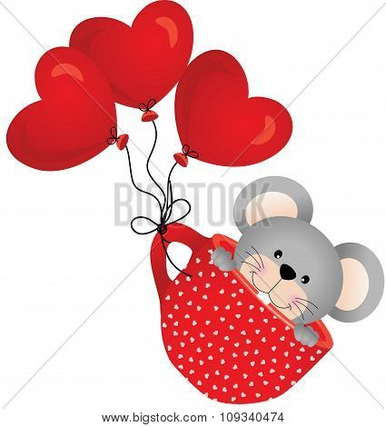 Mouse flying in red cup with heart balloons