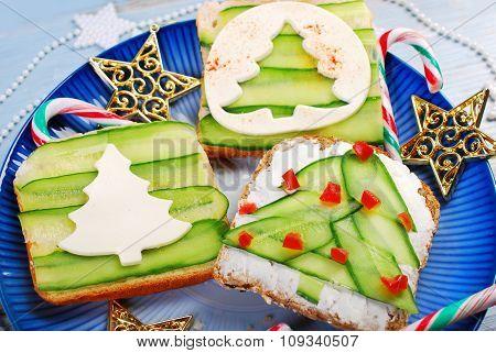 Three Christmas Tree Shape Sandwiches