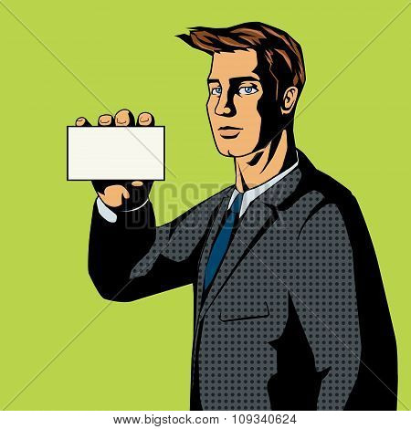 Businessman with card pop art style vector