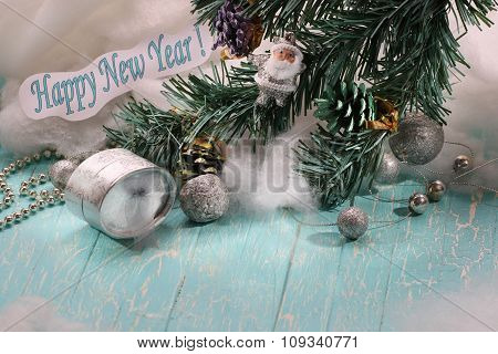 A Gift, A Branch Of Spruce, Santa Claus, The Text Happy New Year