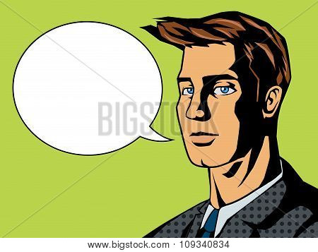 Man with text bubble pop art style vector