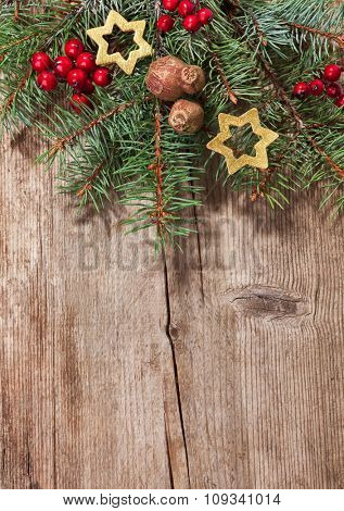 Christmas decoration on old  wooden plank.