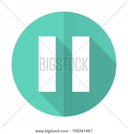 pause blue web flat design circle icon on white background