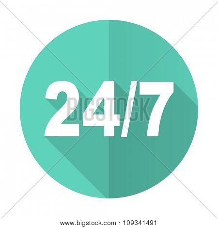 24/7 blue web flat design circle icon on white background