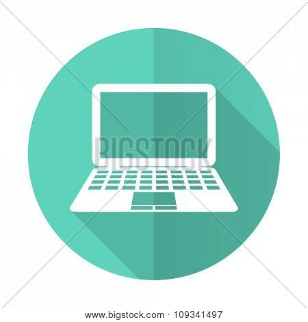 computer blue web flat design circle icon on white background