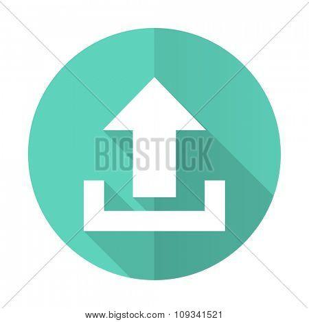 upload blue web flat design circle icon on white background