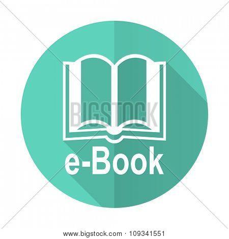 book blue web flat design circle icon on white background