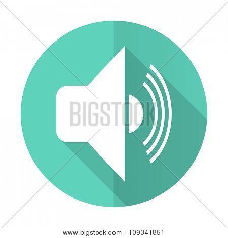 volume blue web flat design circle icon on white background
